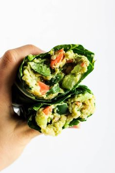 These Avocado Chickpea Salad Collard Wraps are perfect to pack for on-the-go! They're packed with fiber, protein & greens for a healthy lunch or dinner. Vegan & gluten-free!  -  Just omit the salt and add liquid or coconut aminos to make these completely compliant on Dr. Fuhrman's nutritarian plan!