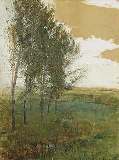 Landscape with deciduous trees, Antonín Slavíček. Czech (1870 - 1910)h