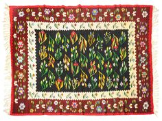Vintage floral beautiful rug, large size for a livingroom, handwoven, Romania. Vintage Floral, Vintage Rugs, Dark Red Background, Floral Rug, Large Rugs, Decorative Pillow Covers, Handmade Decorations, Rug Making, Rugs On Carpet