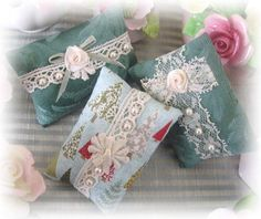 Mini Pillow Sachets Set of 3 Green  Lavender by CharlotteStyle, $14.00