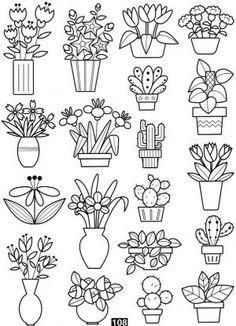 64 Ideas embroidery riscos flores for 2019 Doodle Coloring, Colouring Pages, Coloring Books, Doodle Drawings, Easy Drawings, Doodle Art, Mini Drawings, Kaktus Illustration, Embroidery Patterns