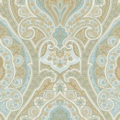 Blue and Taupe Paisley Fabric | Carousel Designs
