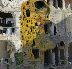 Homage to Gustav Klimt by Tammam Azzam ,Syria. Hope for peace. #artpeople More: https://artpeople.net/2017/03/syrian-artist-tammam-azzam-paints-homeland/