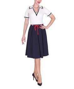 Look at this Tatyana Ivory & Navy On the Yacht Dress - Women & Plus on #zulily today!