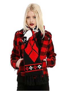 """<p>Knit scarf from DC Comics with a red, black and white <i>Harley Quinn</i> character design.</p><p>Complete the set with matching items below!</p><p><u><a href=""""http://www.hottopic.com/product/dc-comics-harley-quinn-batman-logo-pom-beanie/10428198.html"""">DC Comics Harley Quinn Batman Logo Pom Beanie</a></u></p><p><u><a href=""""http://www.hottopic.com/product/dc-comics-harley-quinn-pop-gun-knit-fingerless-gloves/10424861.html"""">DC Comics Harley Quinn Pop-Gun Knit Fingerless…"""