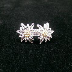 Edelweiss  silver filigree earrings by BongeraFiligrana on Etsy