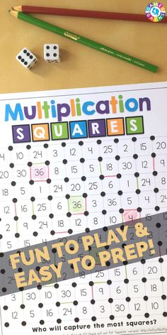 "multiplication facts game to use in your math centers tomorrow? Read about how we've ""mathified"" the popular squares game to practice multiplication facts! Multiplication Facts Games, Multiplication Squares, Math Facts, Math Fractions, Box Method Multiplication, Math Tutor, Teaching Math, Math Education, Fourth Grade Math"