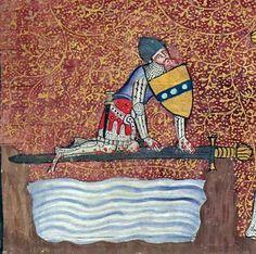 Sir Lancelot crossing the Sword Bridge Lancelot du Lac, Hainaut 1344 (BnF, Français 122, fol. 1r)
