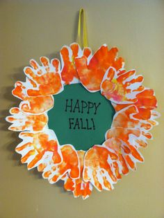 Fall handprint wreath with styrofoam plate for backing  - I love how these turned out!!! =) /mb