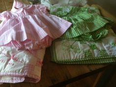Quilts and dresses made for twins.  If your friend is expecting, you are expecting or whatever, you mom is expecting (i don't know your life!) - order up!   $165 for dress and matching quilt combo!