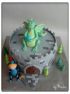 Dragon castle knight boys cake