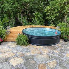 Hot Tub Backyard, Backyard Water Feature, Small Backyard Pools, Small Pools, Backyard Retreat, Backyard Patio, Stock Pools, Stock Tank Pool, Swimming Pool Designs