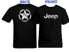 Jeep broken star distressed look customized silk printed black t-shirt S-4XL