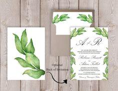 Botanical Wedding Invitation Printable Garden Wedding Invitation Wedding Invite  by PucciPaperie
