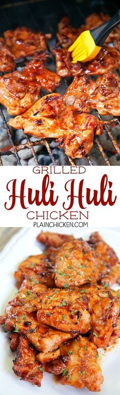 Grilled Huli Huli Chicken DANGEROUSLY good Chicken thighs marinated in brown sugar soy sauce ketchup sherry ginger and garlic Let the chicken marinate all day and grill. Turkey Recipes, Meat Recipes, Dinner Recipes, Cooking Recipes, Healthy Recipes, Recipies, Casserole Recipes, Cake Recipes, Group Recipes