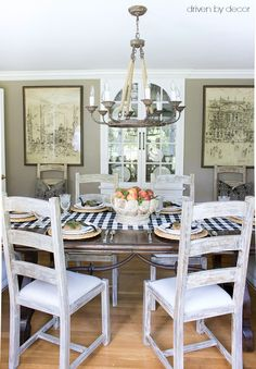 Simple fall dining table with fresh peaches as centerpiece - part of full fall home tour