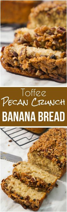 This Toffee Pecan Crunch Banana Bread is an easy banana bread recipe using butter pecan cake mix. Topped with pecans and toffee bits for a crunchy crust. This is a great snack or breakfast idea.