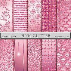 Pink glitter Paper Christmas metallic damask от JulieDigitalArt