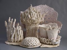 """""""Coral"""" Mixture of slab rolled, thrown, and hand crafted teaset-featured in culture map for the 5th annual Texas Teapot Tournament by local Houston artist Tiffany Moroney"""