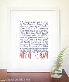 The Star Spangled Banner / Home of the Brave Free Printable
