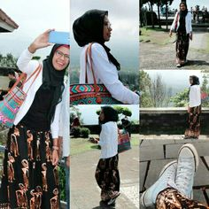 My batik and my sneakers   #hijab #glasses #totebag #jacket #longskirt #sneakers #batik