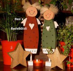 Weihnachtsfiguren - Engel-Paar Liese und Lotte aus Holz, Shabby-Chic - ein Designerstück von Hasis-Bastelbuetzli bei DaWanda                                                                                                                                                                                 Mehr