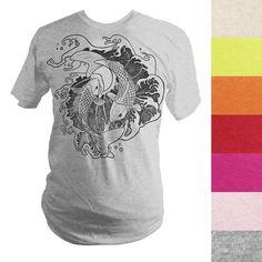 Made-to-Order Fighting Koi Fish T-Shirt Koi Fish Designs, Oni Demon, Japanese Oni, Fish Graphic, State College, Fishing T Shirts, Summer Tshirts, Gold Ink, Light Orange