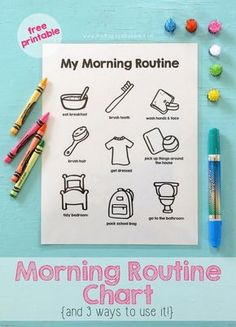 A printable morning routine chart to help get mornings started easily and efficiently. Included is three different ways to use the chart too! Morning Routine Printable, Morning Routine Chart, Kids Routine Chart, Morning Routine Kids, Kids Schedule Chart, Bedtime Routine Chart, Morning Morning, Morning Person, Chore Chart Kids