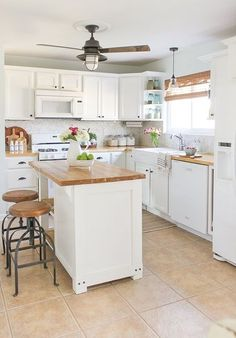 Into Home Tour 2016 Fall Farmhouse kitchen with white cabinets, butcher block counters, apron front…Fall Farmhouse kitchen with white cabinets, butcher block counters, apron front… Kitchen On A Budget, New Kitchen, Kitchen Decor, Kitchen Ideas, Kitchen Inspiration, 10x10 Kitchen, Awesome Kitchen, Cheap Kitchen, Kitchen Small