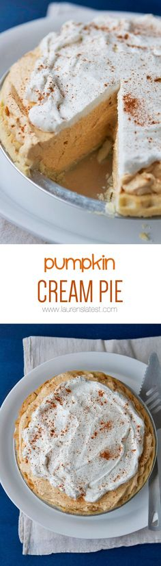 Pumpkin Cream Pie... It's light and creamy and delicious! Not to mention the perfect kind of last minute dessert for the holidays which I am all about…like every day of the week.