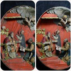 Restauro ovale in cera policroma  #restoration #wax #cera #antique