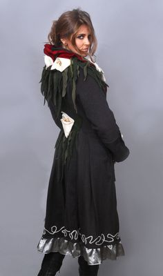 Wearable Art Wool Coat with three dimensional Calla Lillies from repurposed materials. Collar is appliqués felted wool flowers by AyalaOriginals on Etsy https://www.etsy.com/au/listing/163636850/wearable-art-wool-coat-with-three