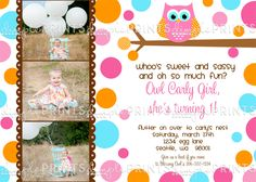 Cute fall owl birthday invite