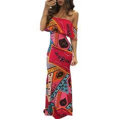 USD11.99Euramerican Strapless Short Sleeves Printed Qmilch Floor length Dress