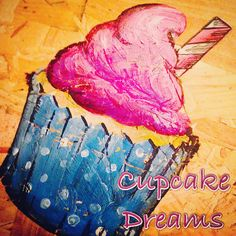 Pink and blue straw cupcake art Apple Art, Cupcake Art, Toffee, Tie Dye Skirt, Pink, Blue, Sticky Toffee, Candy, Roses