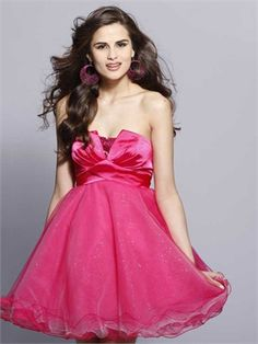 Lovely Strapless Low Back Short Tulle Prom Dress PD11182 www.dresseshouse.co.uk $89.0000