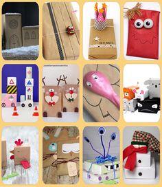 Fotografías y enlaces a diferentes páginas con ideas para envolver regalos para niños de forma original y divertida.