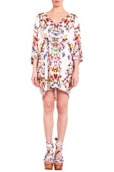 Otomi print dress by mara hoffman Poncho Dress, Mexican Embroidery, Mexican Dresses, Heart Print, Going Out, Mara Hoffman, Print Patterns, Floral Tops, Ready To Wear