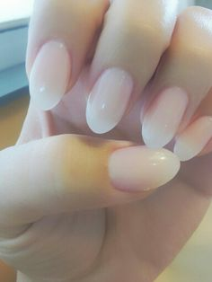 Almond shaped nails in nude. Love them!