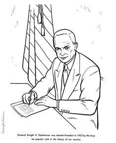 free printable president dwight d eisenhower facts and coloring picture