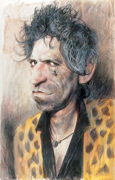 Keith Richards by Sebastian Krüger Funny Caricatures, Celebrity Caricatures, Funny Celebrity Pics, Rolling Stones Keith Richards, Rollin Stones, Ron Woods, Black And White Cartoon, Charlie Watts, King Richard