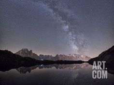 Starry Sky over Mont Blanc Range Seen from Lac Des Cheserys, Haute Savoie. French Alps, France Photographic Print by Roberto Moiola at Art.com