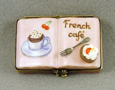 NEW FRENCH LIMOGES BOX FRENCH CAFE DESSERT BOOK STRAWBERRY CUPCAKE HOT CHOCOLATE #Limogesbox