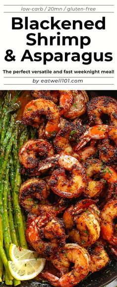 Blackened Shrimp and Asparagus Skillet - #shrimp #asparagus #recipe #eatwell101 - These delicious blackened shrimp with asparagus are the perfect versatile and fast weeknight meal. - #recipe by #eatwell101 Asparagus Skillet, Shrimp And Asparagus, Asparagus Recipe, Skillet Shrimp, Food With Shrimp, Meals With Asparagus, Meals With Shrimp, Recipes With Shrimp, Baked Shrimp