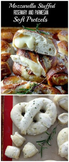 Mozzarella Stuffed Rosemary and Parmesan Soft Pretzels! Homemade soft pretzels loaded with cheese - YUM! Appetizer Recipes, Snack Recipes, Cooking Recipes, Appetizers, Great Recipes, Favorite Recipes, Homemade Soft Pretzels, Cheat Meal, Bread Baking