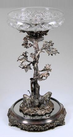 A Victorian plated table centre cast with deer