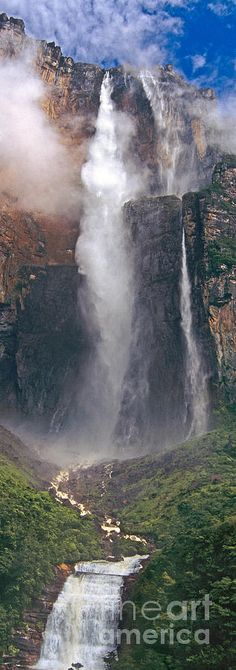Panorama Angel Falls In Canaima National Park Venezuela by Dave Welling-Panorama Angel Falls In Canaima National Park Venezuela Photograph by Dave Welling