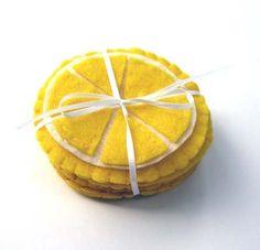 Lemon felt coaster set by sanctusstitches on Etsy, $12.00