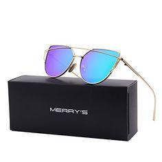 MERRY'S Fashion Women Cat Eye Sunglasses Coating Mirror L...