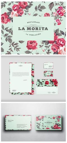 Floral nod to vintage branding and stationary. La Morita Restaurant, Id Web Design, Logo Design, Design Poster, Brand Identity Design, Print Design, Modern Design, Graphic Design Agency, Graphic Design Typography, Graphic Design Inspiration